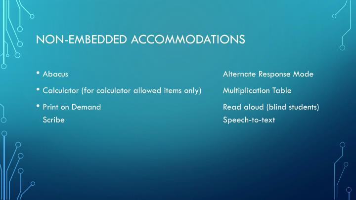 Non-embedded accommodations
