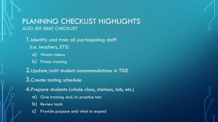 Planning Checklist Highlights