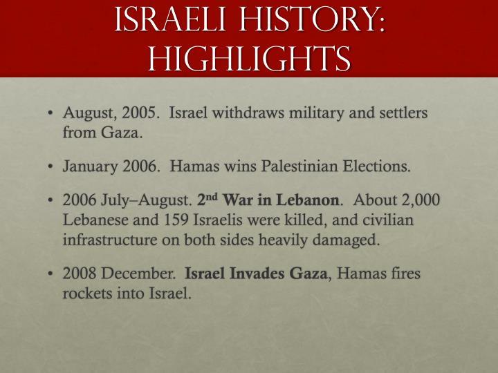 Israeli history:  Highlights