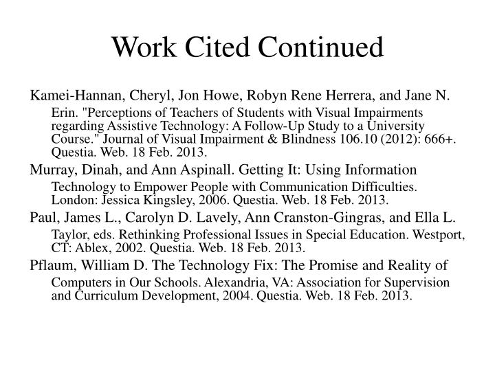 Work Cited Continued