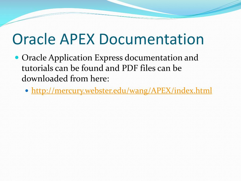 PPT - Oracle Application Express (APEX) PowerPoint