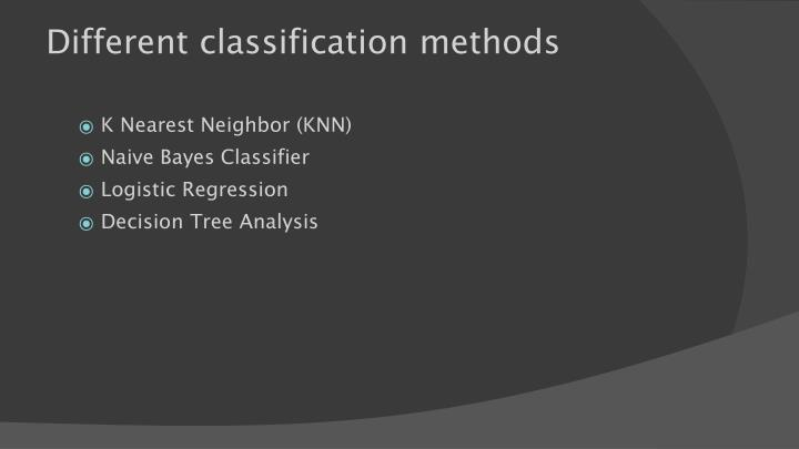 Different classification methods