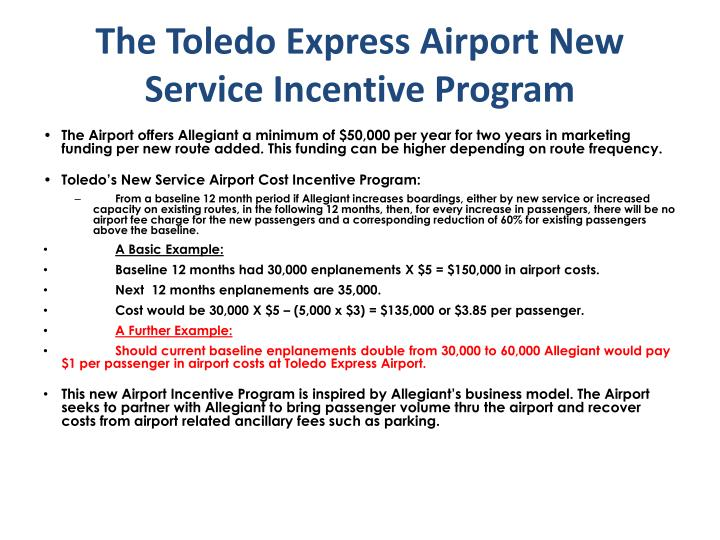 The toledo express airport new service incentive program