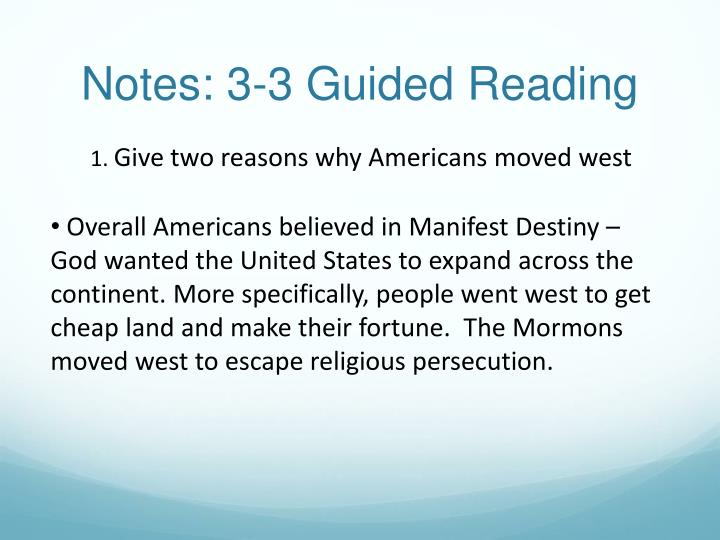 why americans began moving west 3 why americans move west • economic • land • railroads/employment • cattle kansas: african-american farmers [exodusters] moved to land in the west offered to them by the government.