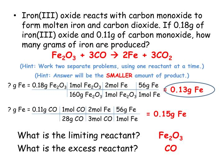Ppt Stoichiometry With A Twist Powerpoint Presentation Id1836706. Ironiii Oxide Reacts With Carbon Monoxide To Form Molten Iron. Worksheet. Worksheet Stoichiometry Problems With A Twist At Clickcart.co
