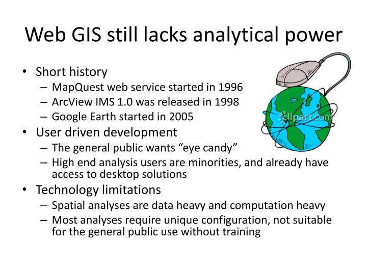 Web GIS still lacks analytical power