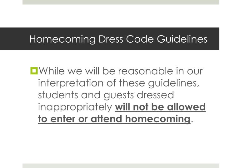 Homecoming Dress Code Guidelines