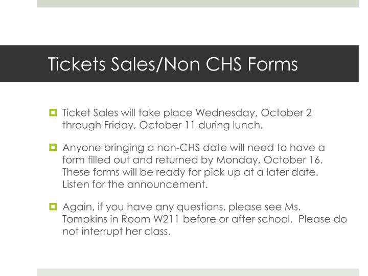 Tickets Sales/Non CHS Forms