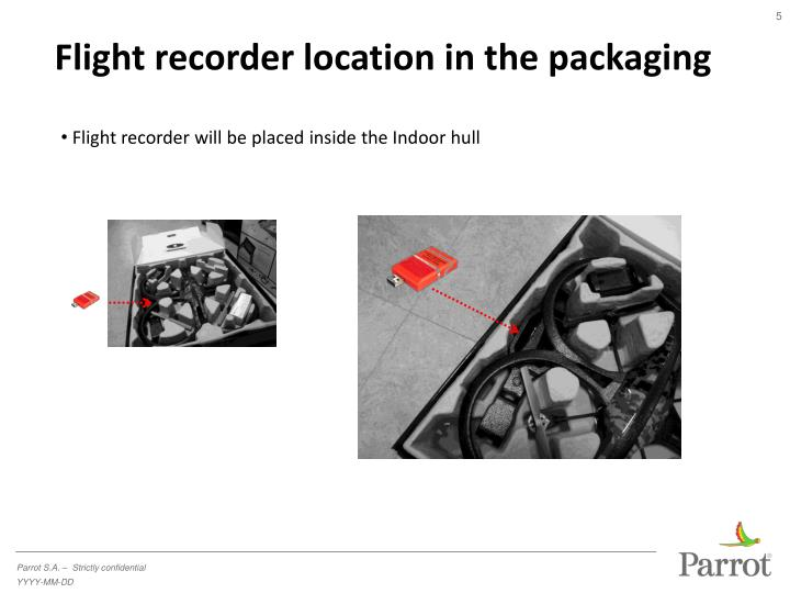 Flight recorder location in the packaging