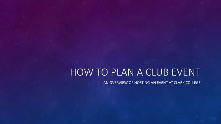 how to plan a club event n.
