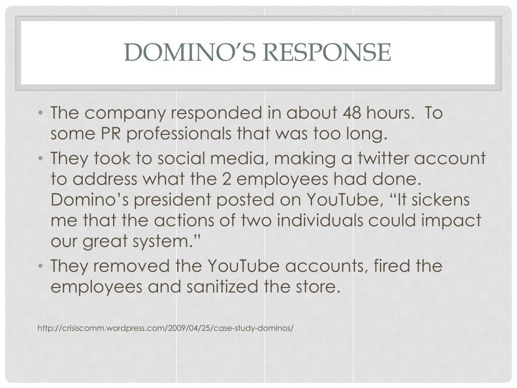 PPT - Crisis Communication Case Study Domino's Pizza