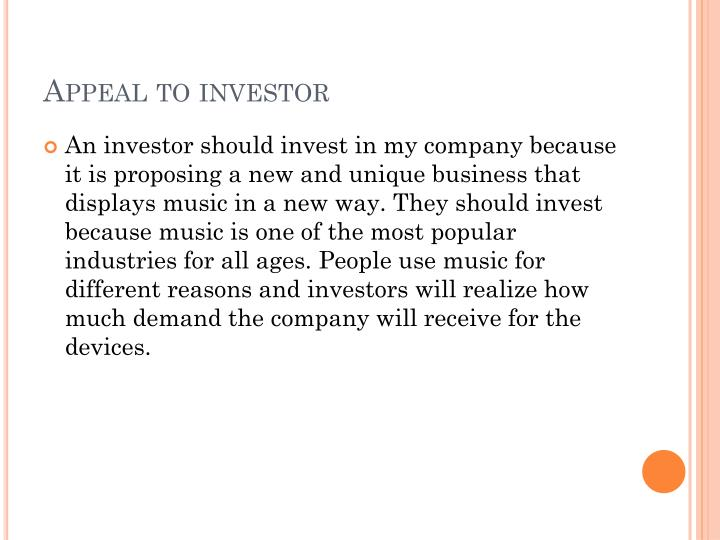 Appeal to investor