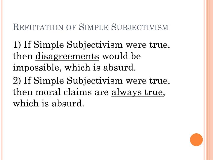 how are ethical subjectivism and simple subjectivism related