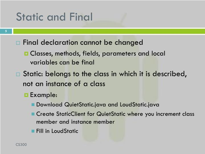 Static and Final
