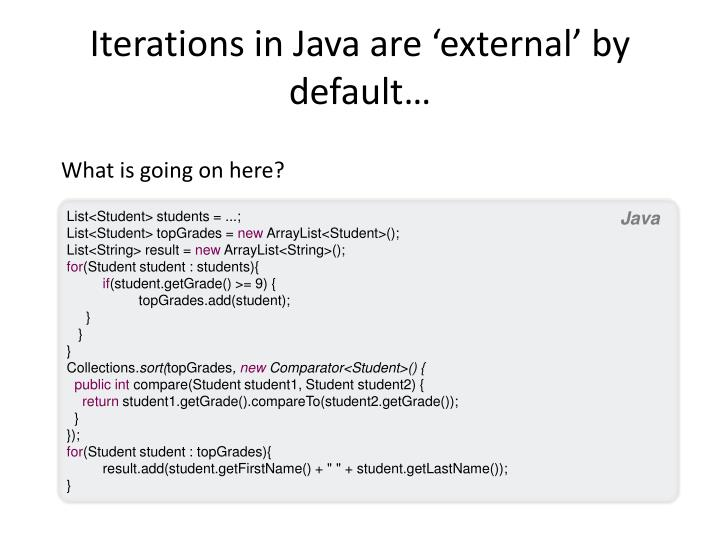 Iterations in Java are 'external' by default…
