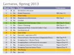 lectures spring 2013
