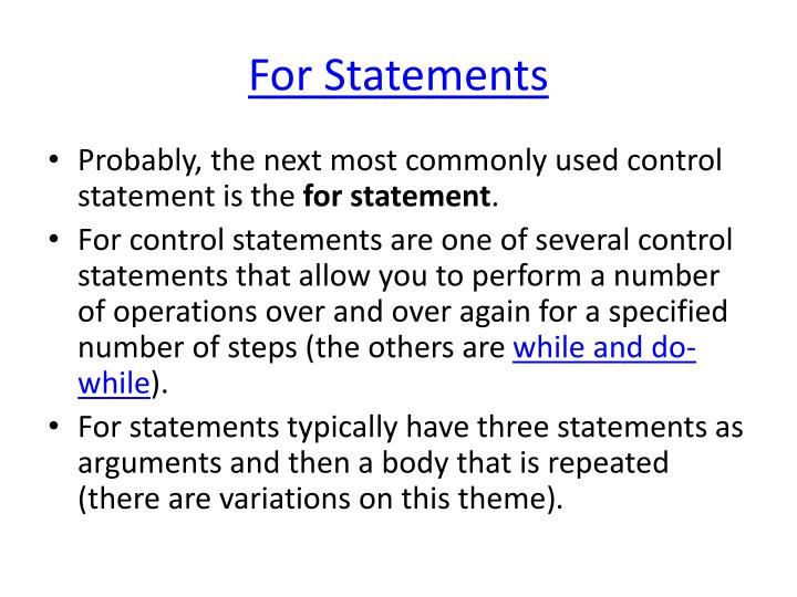 For Statements