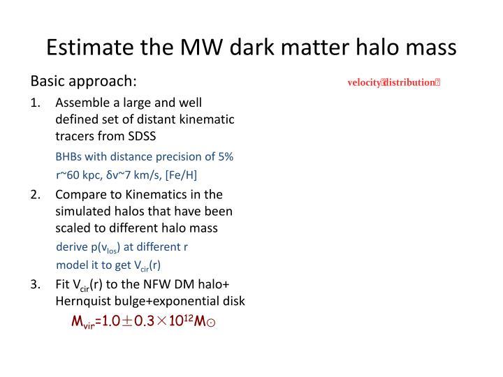 Estimate the MW dark matter halo mass