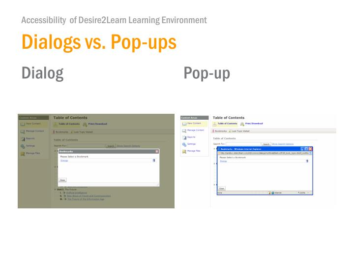 Dialogs vs. Pop-ups