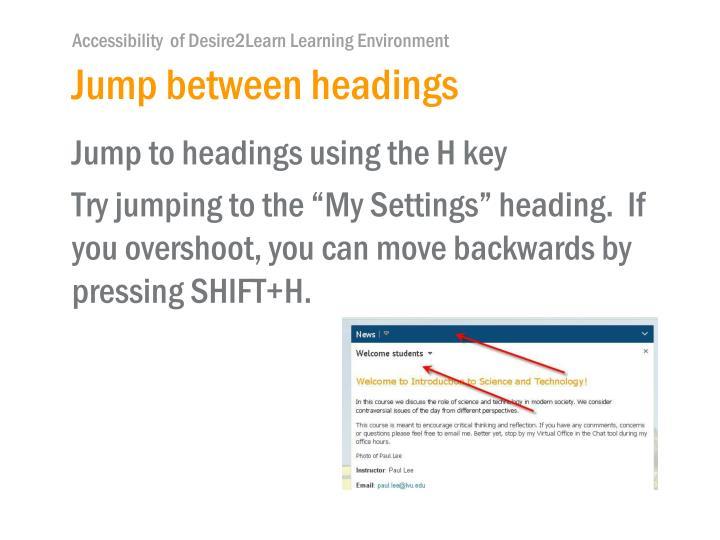 Jump between headings