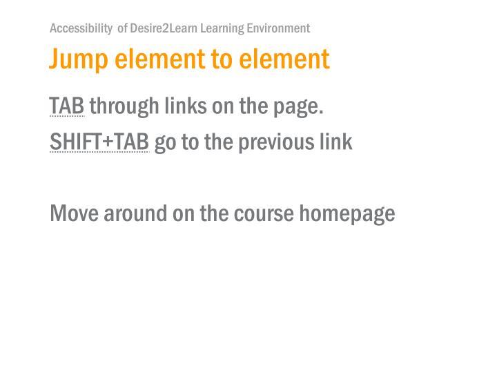 Jump element to element