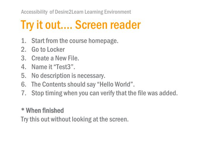 Try it out…. Screen