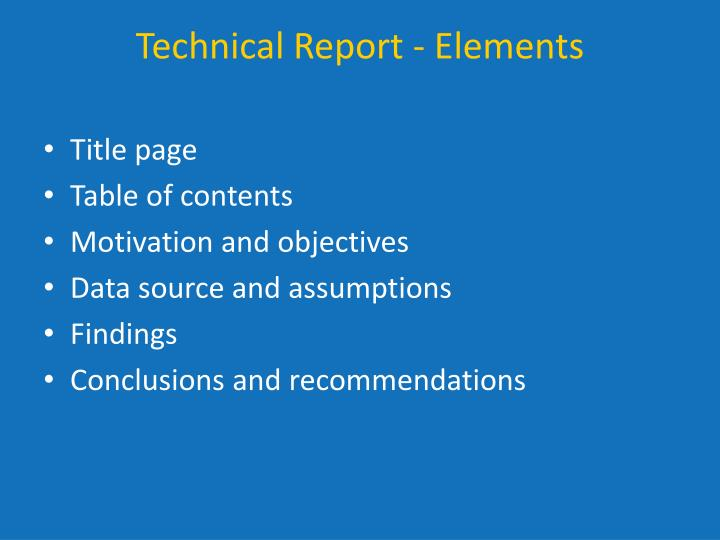 Technical Report - Elements