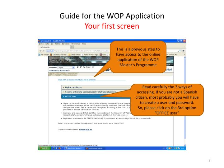 Guide for the wop application your first screen