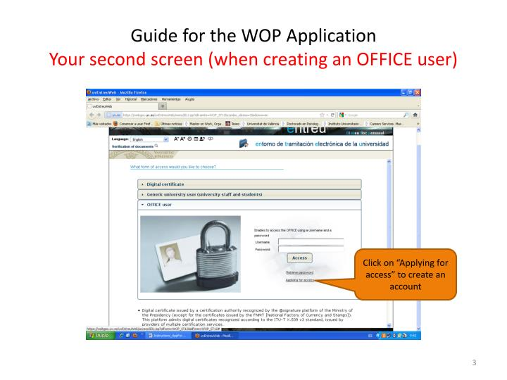 Guide for the wop application your second screen when creating an office user