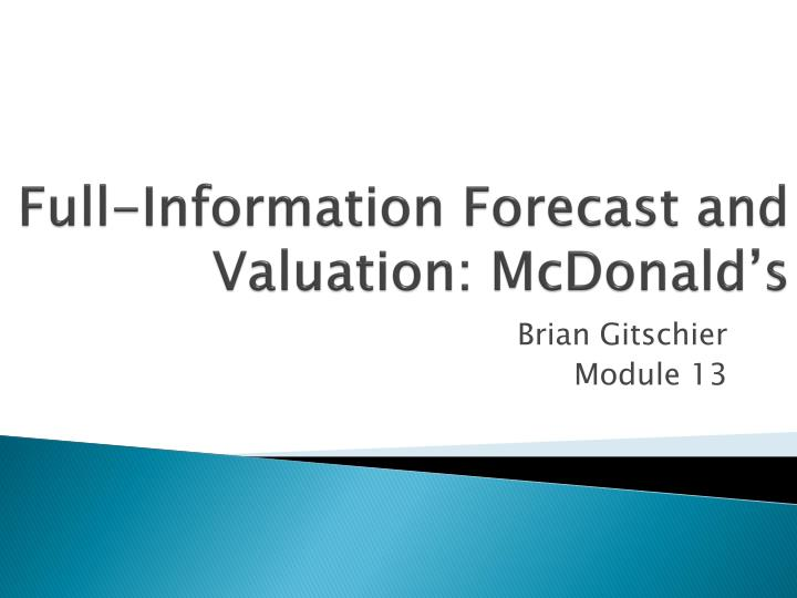full information forecast and valuation mcdonald s n.