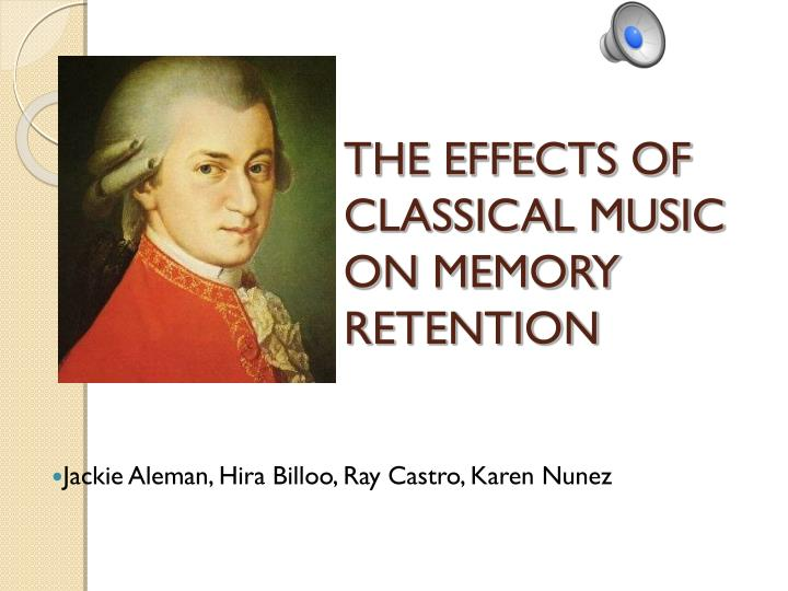 the effect of classical music on exam Music may harm your studying, study says if you're studying for a test, putting on background music that you like may seem like a good idea but if you're trying to memorize a list in order - facts, numbers, elements of the periodic table - the music may actually be working against you, a new study suggests.