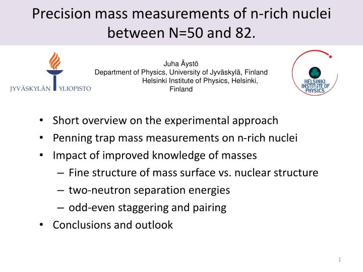 precision mass measurements of n rich nuclei between n 50 and 82 n.