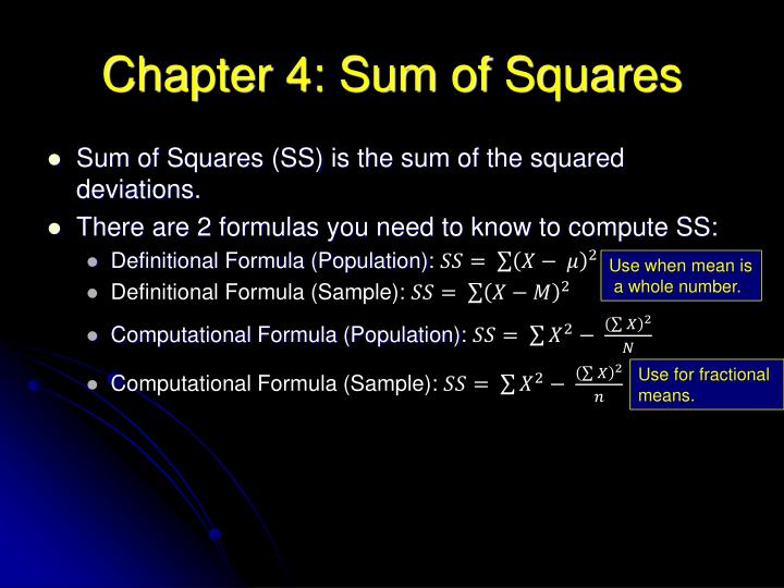 Chapter 4: Sum of Squares