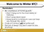 welcome to winter btc