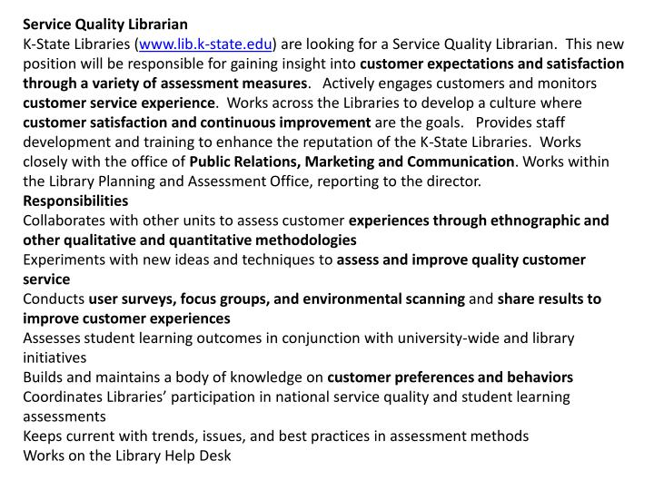 Service Quality Librarian