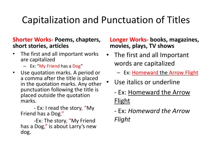 Capitalization and punctuation of titles