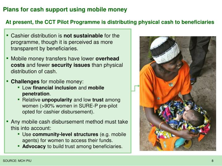 Plans for cash support using mobile money