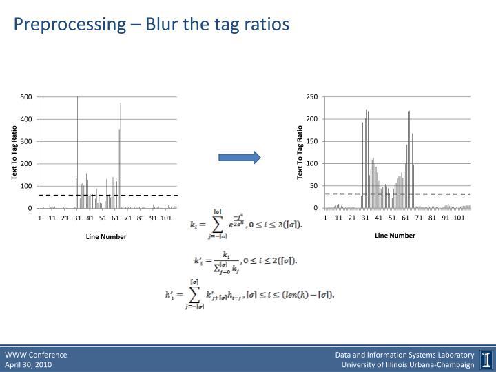 Preprocessing – Blur the tag ratios