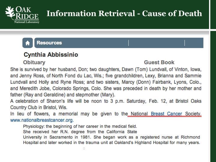 Information Retrieval - Cause of Death