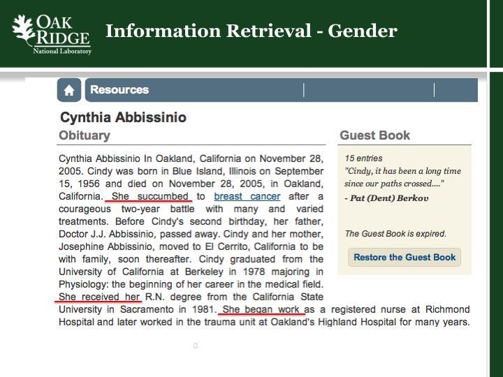 Information Retrieval - Gender