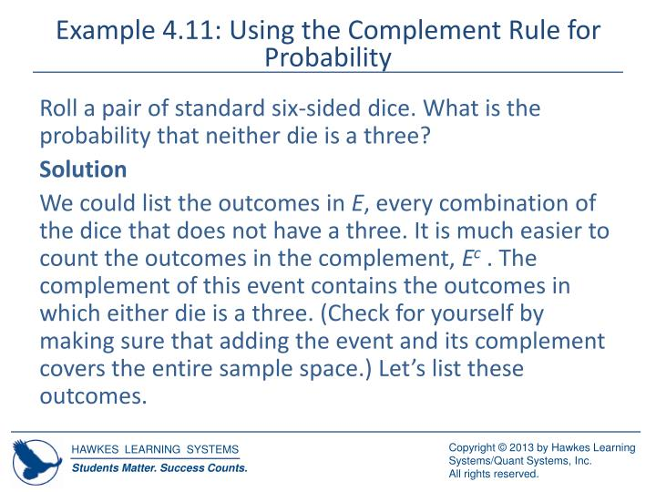 Example 4.11: Using the Complement Rule for Probability