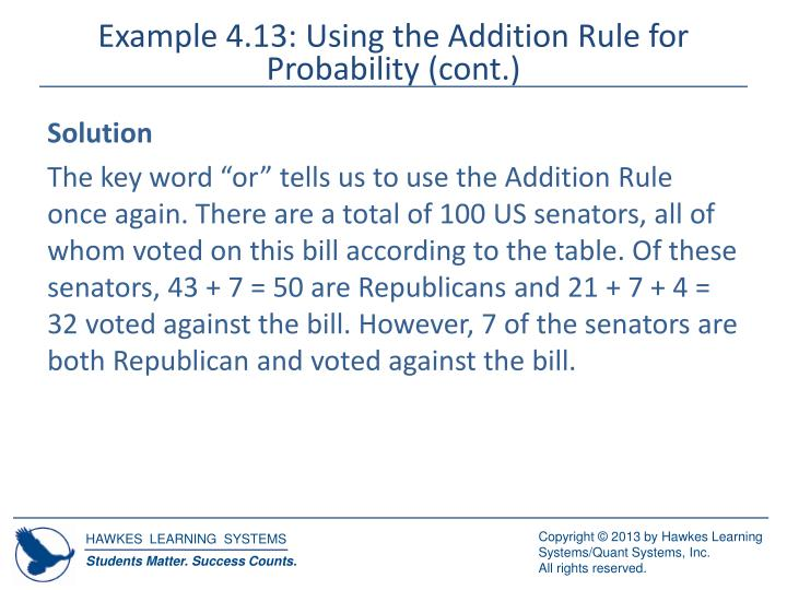 Example 4.13: Using the Addition Rule for Probability (cont.)