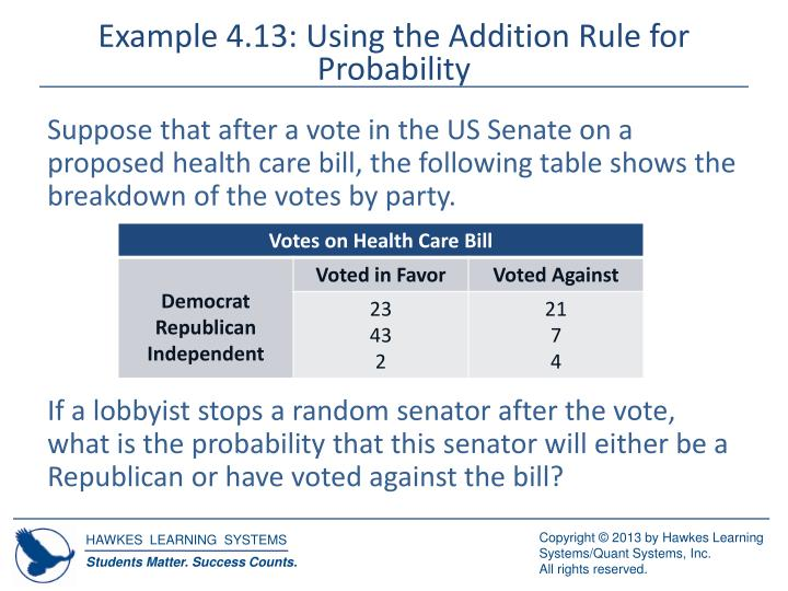 Example 4.13: Using the Addition Rule for Probability