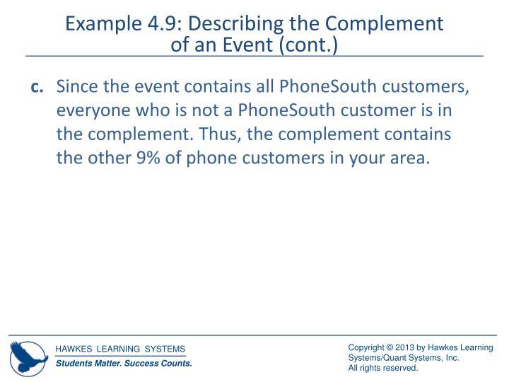 Example 4.9: Describing the Complement