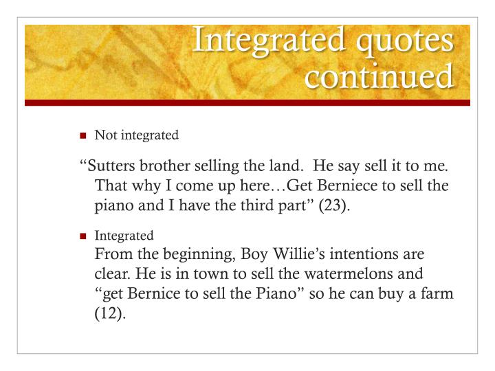 Integrated quotes continued