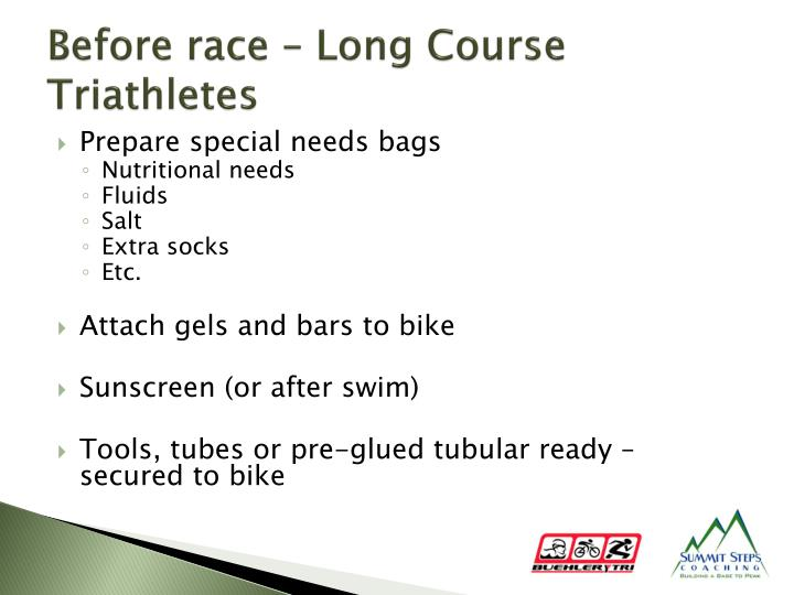 Before race – Long Course Triathletes