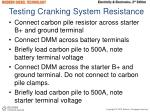 testing cranking system resistance