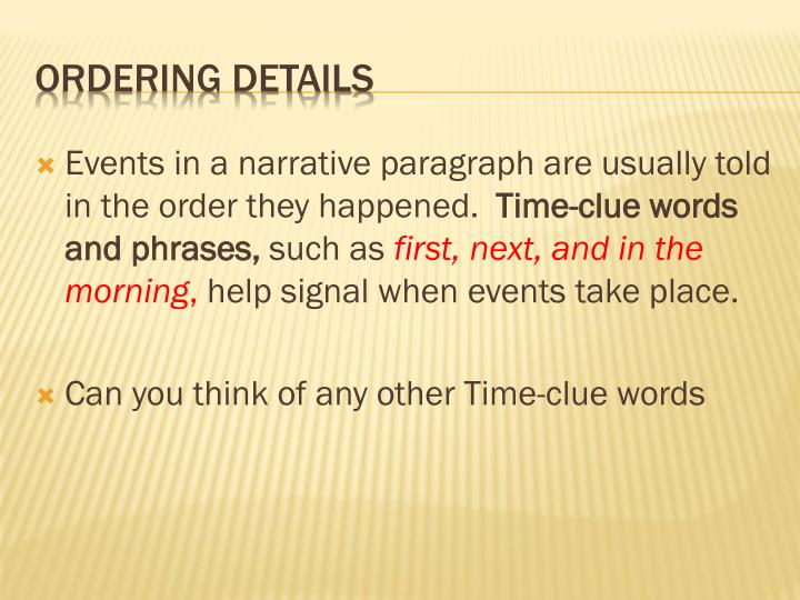 Events in a narrative paragraph are usually told in the order they happened.