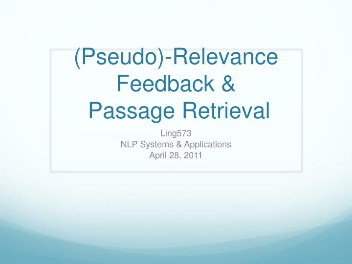 pseudo relevance feedback passage retrieval n.