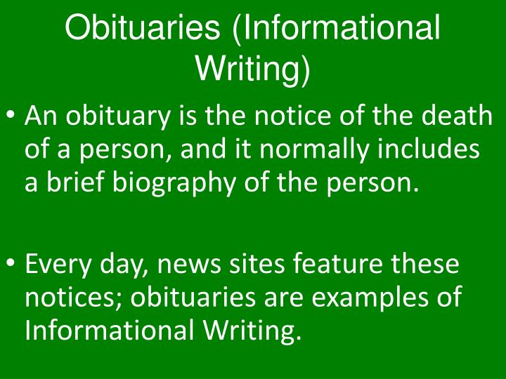 Obituaries (Informational Writing)